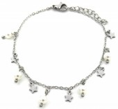 D-D16.1 B1939-005 Stainless Steel Bracelet 5mm Stars and Pearls Silver