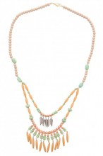 D-B15.4 Long Wooden Necklace with Metal Feathers 82cm