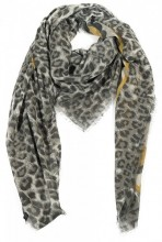 R-G4.2 S106-001 Square Scarf with Animal Print and Glitters 140x140cm Brown-Yellow