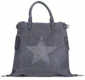 Q-K4.2  BAG017-013 Grey Canvas Bag with Studded Star XL 44x40x16cm