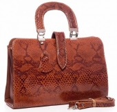 T-B5.1 BAG-570 Luxury Leather Bag with Shiny Snake Look 34x24x11cm Brown