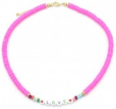 C-B15.3 N2030-001A4 Beaded Necklace LOVE Pink