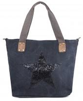 Q-M6.1 BAG118-004 Canvas Bag with Glitter Star 43x31cm Dark Grey