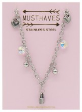 F-B18.1 N2053-014 S. Steel Necklace Hearts and Lock 36-39cm For Kids