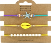 E-B4.1 B2001-054B Bracelet Set 3pcs Starfish-Pearls-Shell Yellow