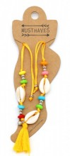 D-A22.3  ANK316-015 Anklet with Shells and Tassel Orange