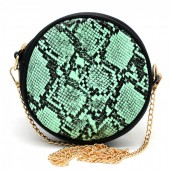 T-M3.1 BAG322-001 Combination Bum-Shoulder Bag Snake incl Belt 14x14x6cm Mint Green