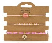 C-D16.1 B221-005 Bracelet Set 3pcs Tree of Life Pink
