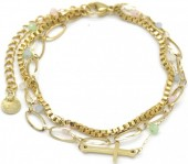 A-D7.5 B014-009G S. Steel Layered Bracelet Cross Gold