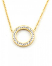 E-C6.4  N410-003 S. Steel Necklace Crystal Circle 15mm Gold