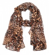 S208-008 Scarf with Mixed Animal Prints 180cm Brown