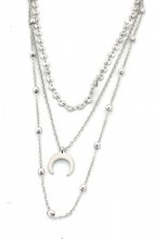 E-D16.3  N224-006 Necklace 3 layers Coins and Moon Silver