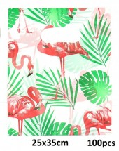 X-B7.1 Plastic Bags Flamingo 100pcs 25x35cm