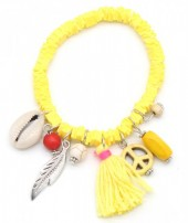 D-A8.2 B302-006 Elastic Surf Bracelet with Beads and Tassel Yellow