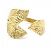 E-D9.1  R110202G S. Steel ring Leaves Adjustable Gold