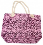 BAG217-001 Soft Beach Bag with Leopard Print 43x34cm Pink