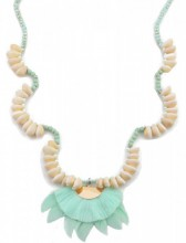 I-A17.1 N021-012 Long Boho Necklace Shells-Stones-Glassbeads-Feathers 85cm Blue