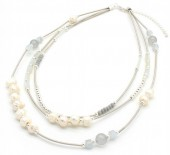 N104-006 Luxury Metal Necklace with Real Fresh Water Pearls
