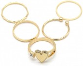 A-C18.5 R426-001G Ring Set 5pcs Gold #17