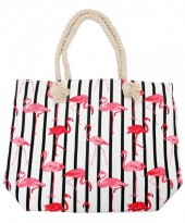 K-A2.1 BAG217-002 Striped Beach Bag with Flamingos 43x34cm White
