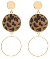 E-C6.1 E006-004 Earrings with Animal Print Gold-Brown 8x3 cm