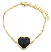 B-C21.2 B1934-009 Stainless Steel Bracelet with 20mm Heart with Black Onyx Gold