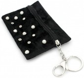 BAG1202-029 Velvet Keychain Wallet with Pearls and Crystals Black