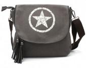 R-O8.2  BAG118-005 Canvas Crossbody Bag with Star 28x33cm Grey