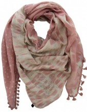 T-D8.1 S002-002 Pink Scarf with Stars-Crystals-Sequins  140x140cm