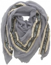 K-E5.2 S005-003 Scarf with Tassels and Sequins 140x140 cm Grey
