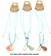 N019-004A Necklace with Shell and Mixed Colors Tassels 1pc