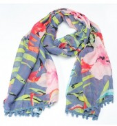 X-C7.1  S206-001 Scarf with Pompon Jungle-Flamingo 180x80cm