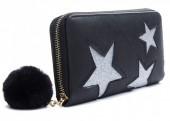 Q-L4.2 WA009-002 Wallet with Glitter Stars and Pompon 19x10cm