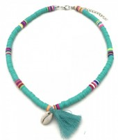 B-A18.4 N412-001F Choker Surf Necklace Tassel-Shell Blue