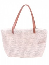 Y-F2.4 BAG217-020 Woven Straw Shopper Pink