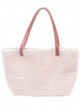 Y-F2.4 BAG217-020 Woven Straw Shopper Pink