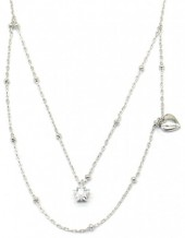 A-C7.1 SN104-171 Necklace 925S Silver Layered with Heart and Star