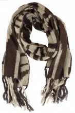 Z-D3.1 Scarf with Zebra Print and Fringes 55x190cm Brown