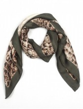 S-B8.4 S301-001F Scarf Silky Feel 70x70cm Brown-Green Snake