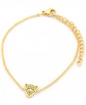 B-F15.3  B1842-010 Stainless Steel Bracelet on Giftcard with Leopard Gold