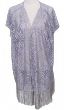 S-E1.3 Beach Poncho with Fringes and Lace Grey