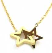 C-B16.1 N1939-015 Stainless Steel Necklace 14mm Stars Gold