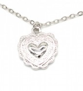G-B18.1 N304-040 Necklace with Heart Charm 1cm Silver
