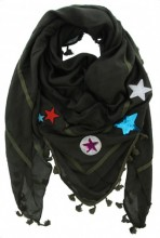 X-F9.1 S002-004 Green Scarf with Patches-Stars-Tassels 140x140cm