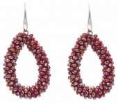 A-C7.1  E007-001 Facet Glass Beads 4.5x3.5cm Red
