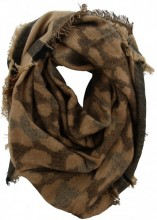 Z-C2.1 Thick Square Winter Scarf with Leopard Print Brown