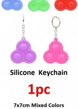 R-F3.2 Silicone Pop It Keychain 7x7cm - Mixed Colors - 1pc