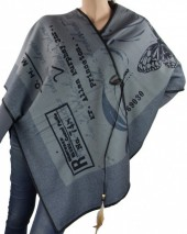 Z-F4.2  Soft Poncho Grey with Letters and Butterfly