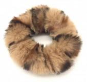 S-E2.2 H414-002 Scrunchie Fluffy Animal Print Light Brown