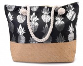 BAG217-003 Beach Bag with Wicker and Metallic Pineapple Print 54x40cm Black-Silver